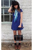 blue vintage dress - dark brown vintage shoes - sky blue vintage scarf