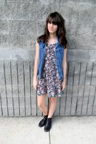 black leather boots - maroon floral DIY dress - blue jean DIY vest