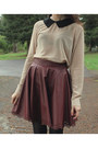 Maroon-skirt-dark-brown-vintage-hat-peach-blouse