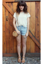 light blue vintage-diy shorts - gold vintage bag - mustard vintage sandals