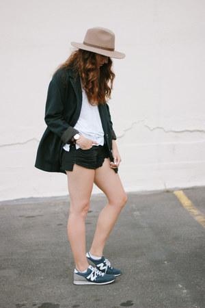 navy free people blazer - camel hat - black free people shorts