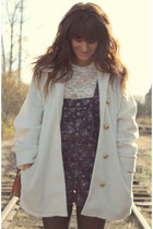 deep purple overalls free people romper - ivory vintage coat