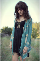 black dress - brown vintage bag - turquoise blue fringe cardigan