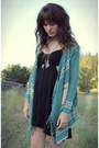 Black-dress-turquoise-blue-fringe-cardigan