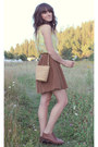 Dark-brown-vintage-bag-brown-vintage-skirt-light-yellow-vintage-top