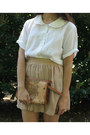 Brown-bag-camel-american-apparel-skirt-white-top