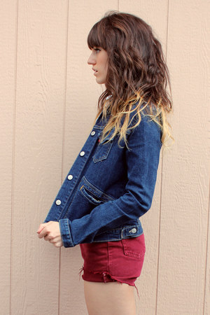 navy vintage Levis jacket - maroon vintage Levis shorts - white polka dot blouse