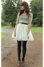 White-striped-dress-black-tights-dark-brown-vintage-belt