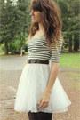 White-striped-dress-black-tights-dark-brown-vintage-belt