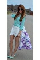 white Zara shorts - white floral cape cape