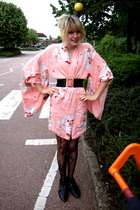 My Aunts Attic dress - Primark belt - Primark stockings - bronx boots