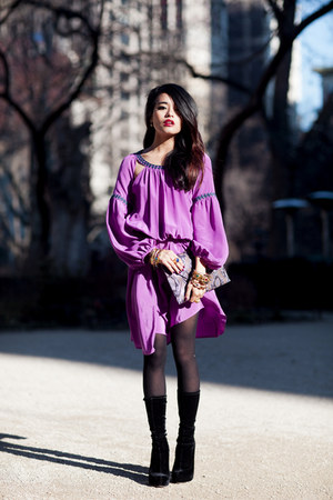 magenta dress bcbg max azria dress - velvet boots Alexander Wang boots