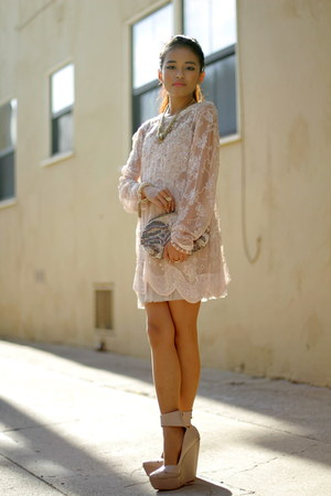 tulle dress LF dress - vintage dress - sequin clutch Club Monaco bag