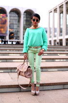 mint sweater acne sweater - spearmint denim free people jeans - Steve Madden bag