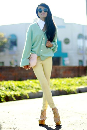 collar asos accessories - mint cardigan vintage sweater - Super sunglasses