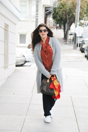 Chanel scarf - Pim  Larkin sweater - Louis Vuitton bag - JCrew top