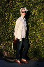 Light-blue-banana-republic-shirt-forest-green-cateye-cateye-sunglasses
