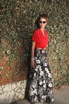 navy 70s floral vintage skirt - heather gray cat eye Nordstrom sunglasses