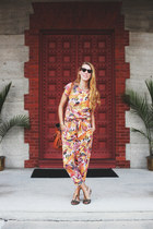 orange tropical print vintage top - orange tropical print vintage pants