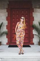 orange tropical print vintage top - orange tropical print vintage pants