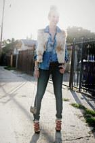 silver western metal vintage purse - navy skinny jeans Helmut Lang jeans
