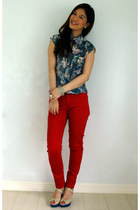 red Forever 21 jeans - blue joel escober top - gold Mango necklace