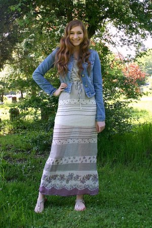 off white maxi Nordstrom dress - sky blue denim American Eagle jacket
