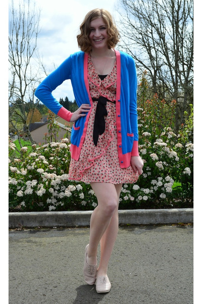 salmon H&M dress - sky blue Prabal Garung for Target cardigan