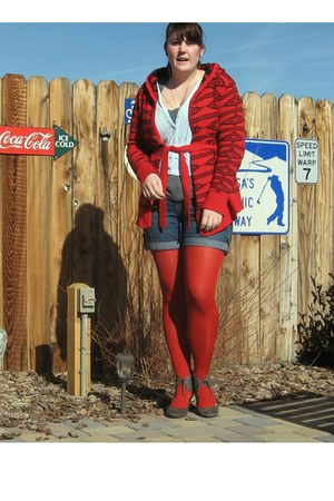 ruby red Macys sweater - heather gray Old Navy shirt - ruby red HUE tights - blu