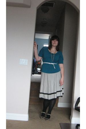 white thrifted skirt - blue New York and Company shirt - white Forever 21 belt -