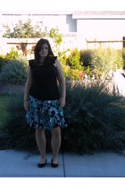 black White House Black Market blouse - teal INC skirt - black Target flats