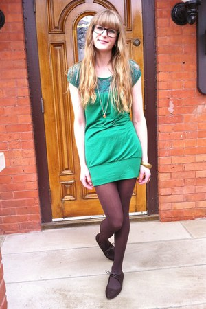 green lace thrifted dress - dark brown suede Spring flats