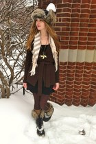 black Sorel boots - black thrifted dress - dark brown wool Jacob sweater