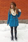 Blue-forever-21-coat-white-infinity-thrifted-scarf-brown-thrifted-bag