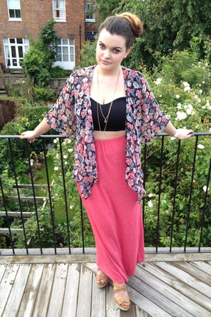 maxi Primark skirt - Kaleidoscope top - bralet ark bra - Moda In Pelle wedges