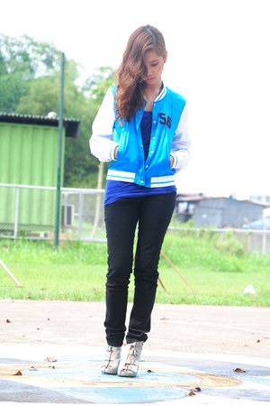 sky blue varsity Tomato jacket - silver boots - blue tank top
