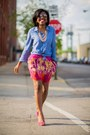 Blue-chambray-h-m-top-aviator-aldo-sunglasses-hot-pink-h-m-skirt