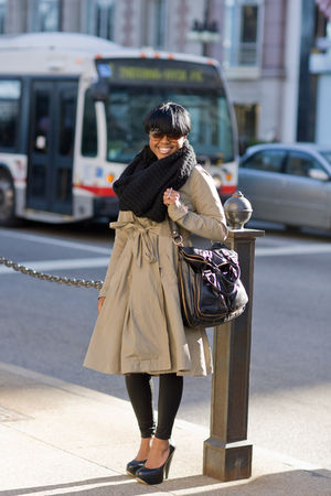 black wrap H&amp;M scarf - black platforms Aldo shoes - beige a-line Diesel coat