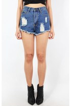 DESTROYED HIGH WAISTED SHORTS - DENIM