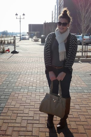 black chevron stripe cardigan - tawny boots - navy jeans - heather gray shirt
