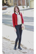 ruby red Zara blazer - eggshell Aldo bag - beige Sheinside blouse