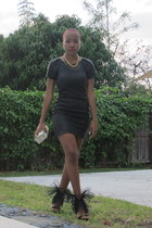 black feather Jeffrey Campbell heels - black leather Armani Exchange dress