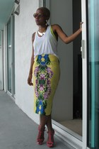 yellow asos skirt - orange Karen Walker sunglasses