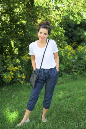 Gap pants - Gap shirt - italian bag - Gap flats
