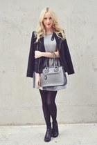black Solective boots - silver monteau dress - black David Buffalo Bitton jacket