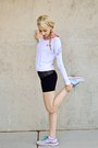 White-nike-shoes-white-adidas-shirt-gray-workout-shorts-reflex-shorts