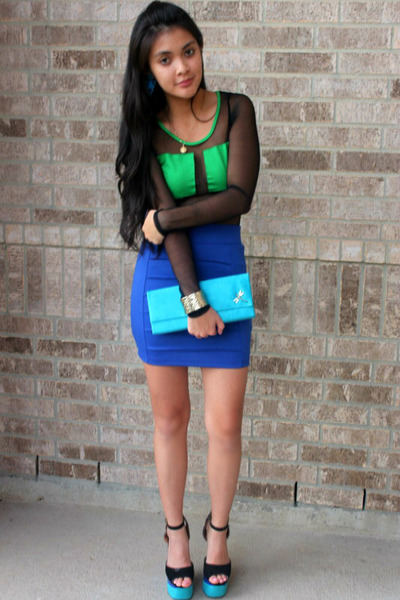 heel less shoes - sil clutch purse - sheer bodysuit - bodycon skirt - ring