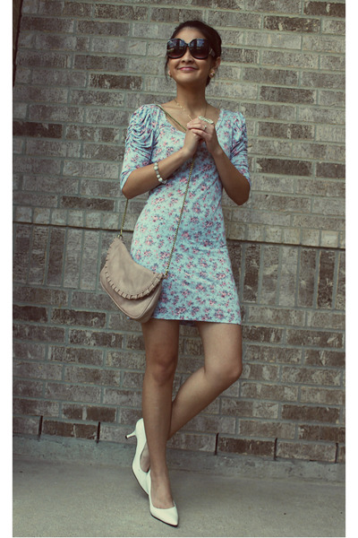 light pink Sling Purse bag - sky blue Fitted Floral dress
