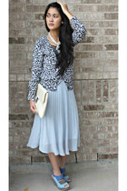 purse - sheer pleated skirt - animal print No Boundaries cardigan