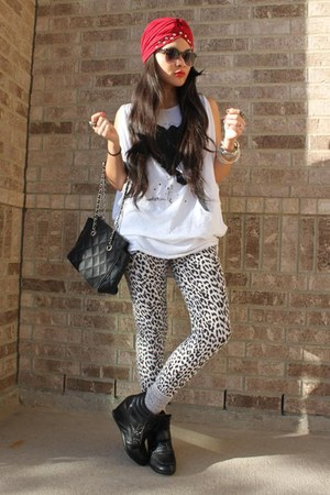 Forever 21 top - leggings - Image sneakers - studded turban accessories